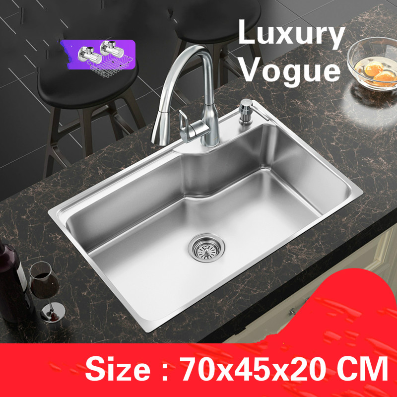 Free shipping Standard luxurious kitchen single trough sink food grade 304 stainless steel whole drawing big hot sell 70×45 CM