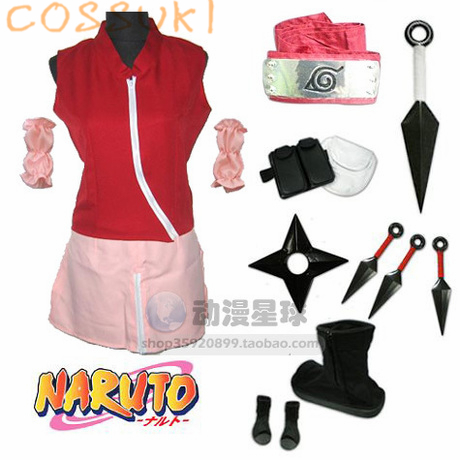 Free Shipping Newest Stock Naruto Haruno Sakura Cosplay Costume Suits Perfect Custom For you