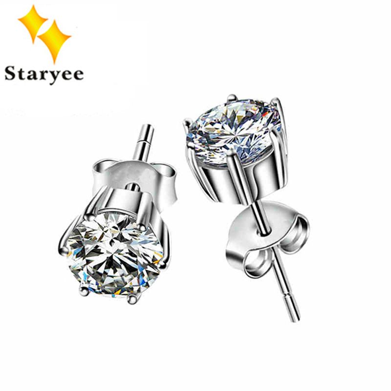 Fashion Pure 18K Solid White Gold Moissanite Lab Diamond Stud Earrings For Women Round Brilliant 1.2 Carat VVS G H Free Shipping transgems 1 carat lab grown moissanite diamond solitaire wedding band for man brilliant solid 18k two tone gold gentle dcc031