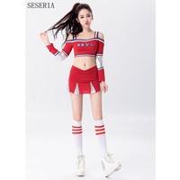 Seseria赤いセクシーなチアリーダーコスチュームハロウィンパーティードレス応援衣装トップ+スカート