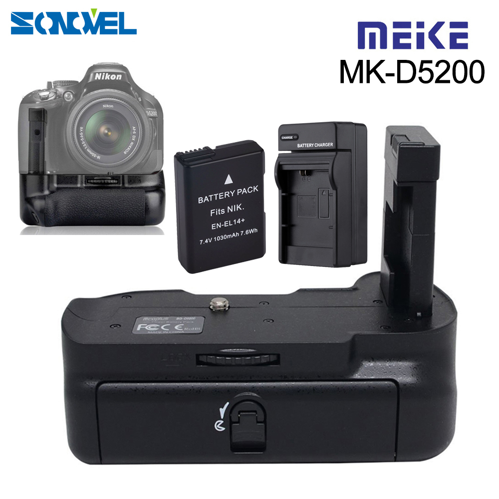 Meike MK-D5200 Vertical Camera Muti-Power Battery Grip Holder Pack for Nikon D5200 DSLR with EN-EL14 Battery + charger free customs taxes high quality skyy 48 volt li ion battery pack with charger and bms for 48v 15ah lithium battery pack