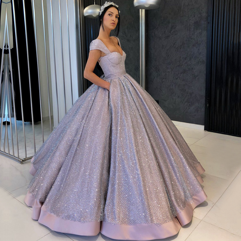 Luxury Long Glitter Silver   Evening     Dress   2018 Sparkly Sweetheart Ball Gown Saudi Arabia Party   Evening   Gowns Women robe de soiree