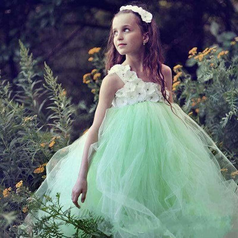 Mint Green Tutu Kids Pageant Ball Gowns Ruffles Puffy communion   dresses   for   girls     flower     girl     dresses   for weddings
