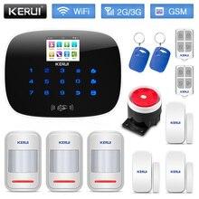 KERUI W193 لاسلكي لص الجيل الثالث 3G GSM 2.4G WIFI PSTN نظام إنذار للأمن المنزلي 2.4 بوصة شاشة ملونة TFT الإنجليزية الروسية