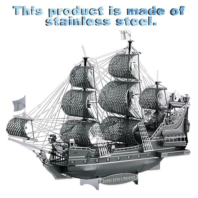 Бесплатная доставка Королевы Анны Месть P038-S 3D Металлические Головоломки Цифра Игрушка парусник ручной сборки модель корабля Яхты Подарок