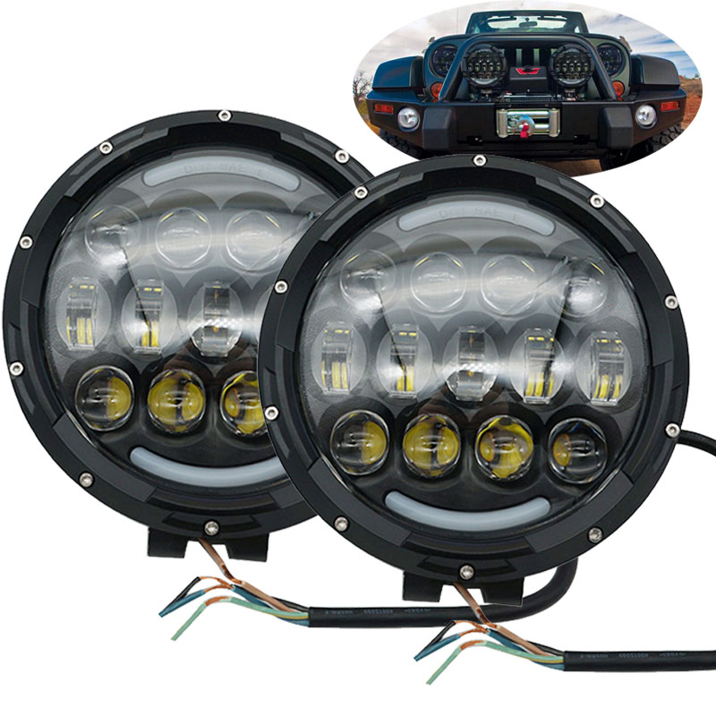 7 Driving Light 105W LED Round Work Light 12V 24V Front Bumper led headlamp with Bracket