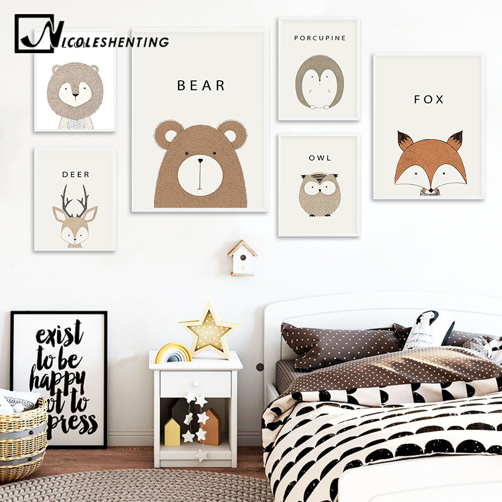 NICOLESHENTING Cartoon Animal Deer Lion Bear Minimalistisk Konst Canvas Poster Målning Vägg Bild Skriv ut Moderna Hem Kid Room Decor