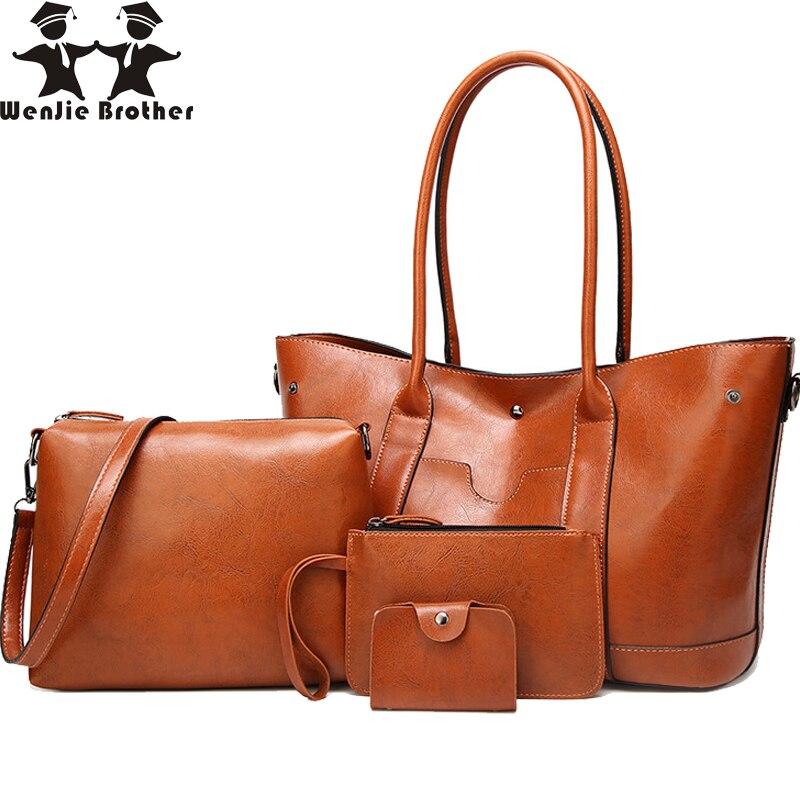 63cf443eb0ed ... плеча сумочку большой ёмкость Bolsa Feminina · Wenjie Brother 4 pc/ комплект из искусственной кожи Shouder сумка женский клатч карты сумки для