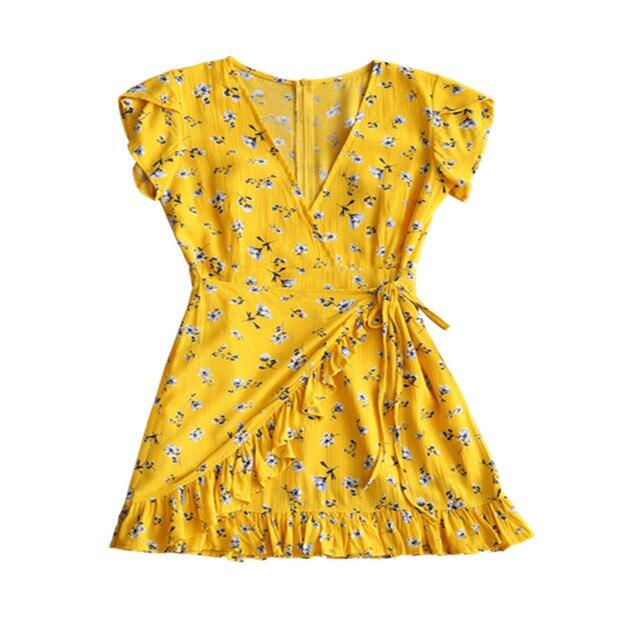 Kenancy Women Low Cut Mini Dress Deep V-Neck Short Sleeves Floral Print  Ruffle Bowknot A-Line Dresses Summer Dress 60d7d845b