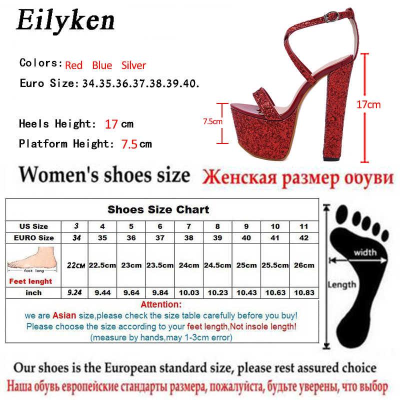 Eilyken Thời Trang Giày Sandal Nữ Cao Cấp Nền Tảng Gót Nhọn Khóa Dây Nữ Gợi Cảm Đầm Bạc-Giày Xăng Đan