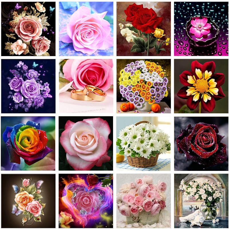 Hibah 5D DIY diamond painting flower rose cross stitch