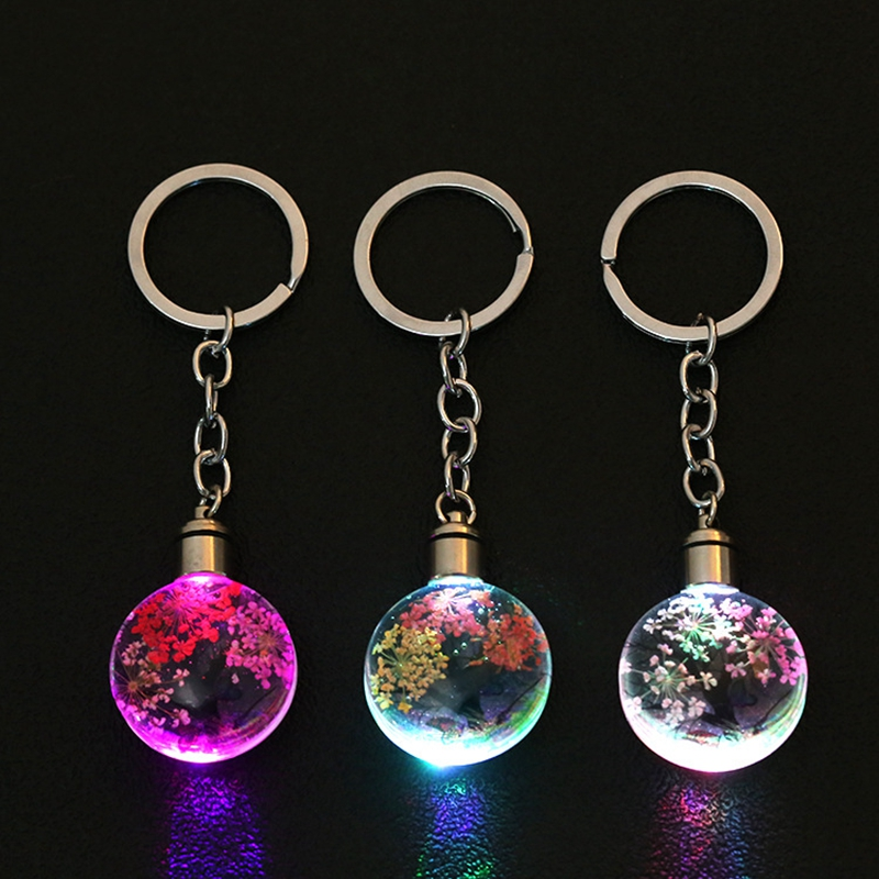 LUCKYAROMA New Crystal Led Light Keychain Styling Colorful Car Key Chain Ring Dry Flower Glasses Pendant Keyring For Gift