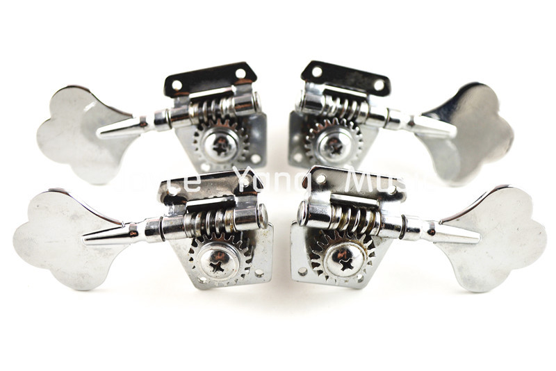 Niko Chrome Vintage Plum Flower Cap Open Bass Tuning Pegs Tuners Machines Heads 2L+2R Free Shipping Wholesales niko 50pcs chrome single coil pickup screws