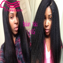 Brazilian Virgin Hair Italian Yaki Full Lace Human Hair Wigs For Black Women Kinky Straight  Lace Front Wig With Baby Hair