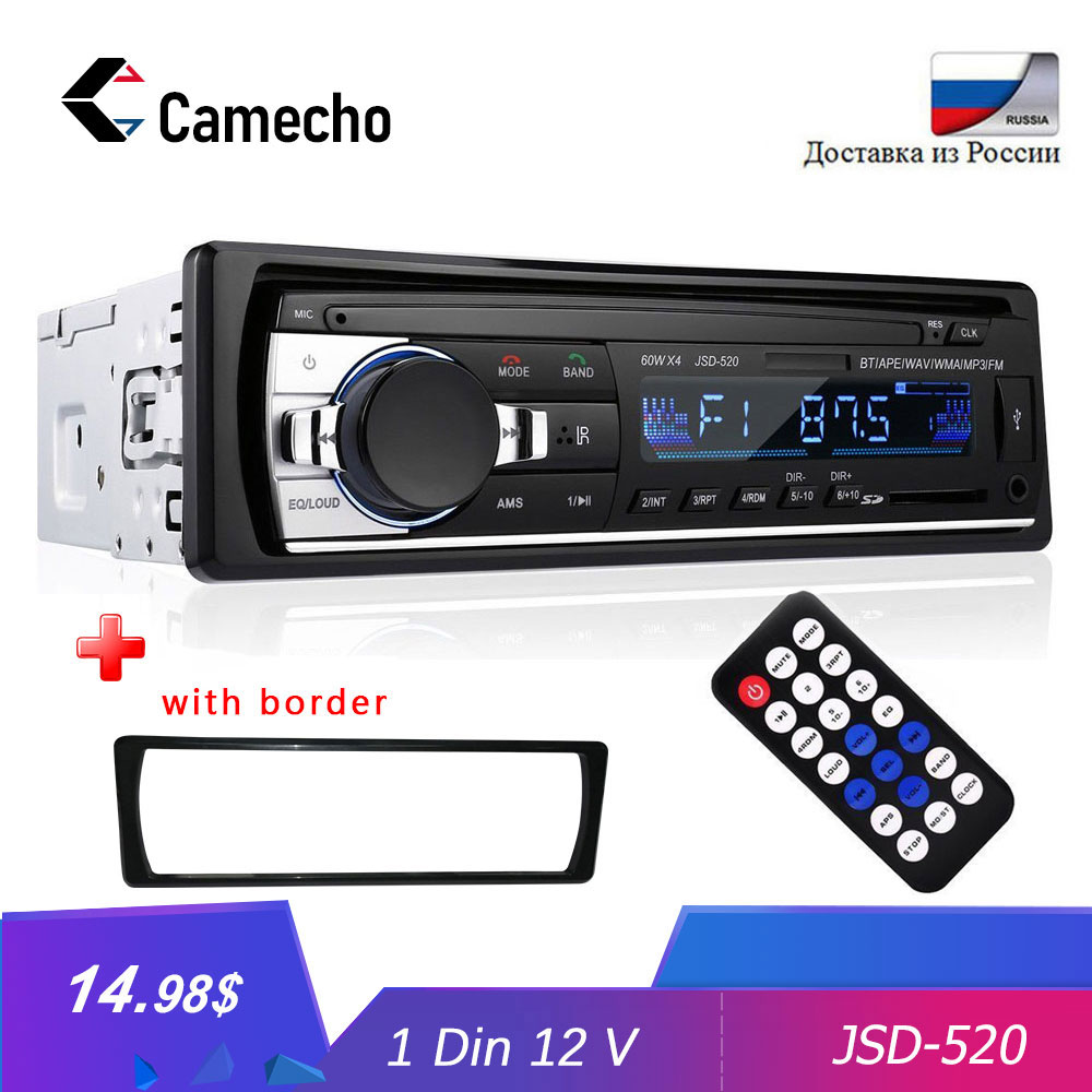 Camecho Bluetooth JSD 520 Car Radio Stereo MP3 Player Wireless Audio Adapter AUX-IN FM U Disk Playing 1 Din With Remote Control