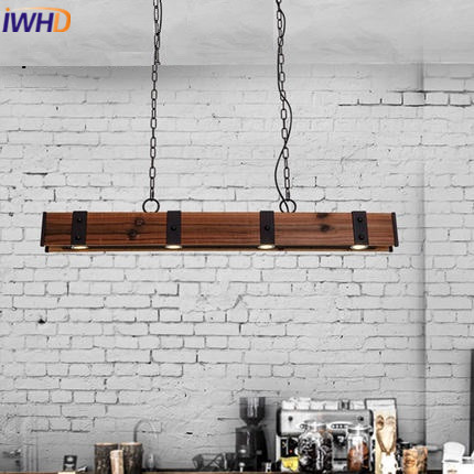 IWHD American Style Wood Vintage Pendant Light Fixtures Iron Retro Loft Industrial Hanging Lamp Led Living Room Hanglamp Lustre iwhd loft retro led pendant lights industrial vintage iron hanging lamp stair bar light fixture home lighting hanglamp lustre