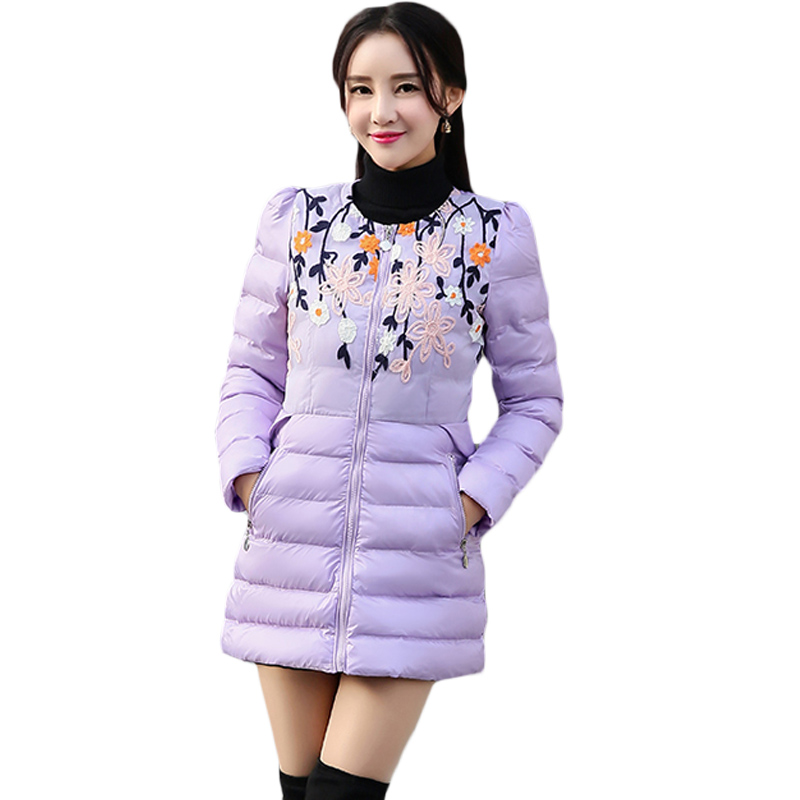 2017 Spring Jacket Vintage Floral Embroidery Women Parka Coat Casual Female Light Purple Jacket Streetwear Tops For Ladies XH553 women s casual spring long sleeve floral embroidery blouse