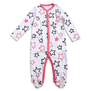 7d2093751d33d Bébé Barboteuses À Manches Longues Enfants Roupas Coton Costume de Dessin  Animé Imprimé Nouveau-Né Bébé Filles Vêtements Pattes Pyjama 0-3 mois