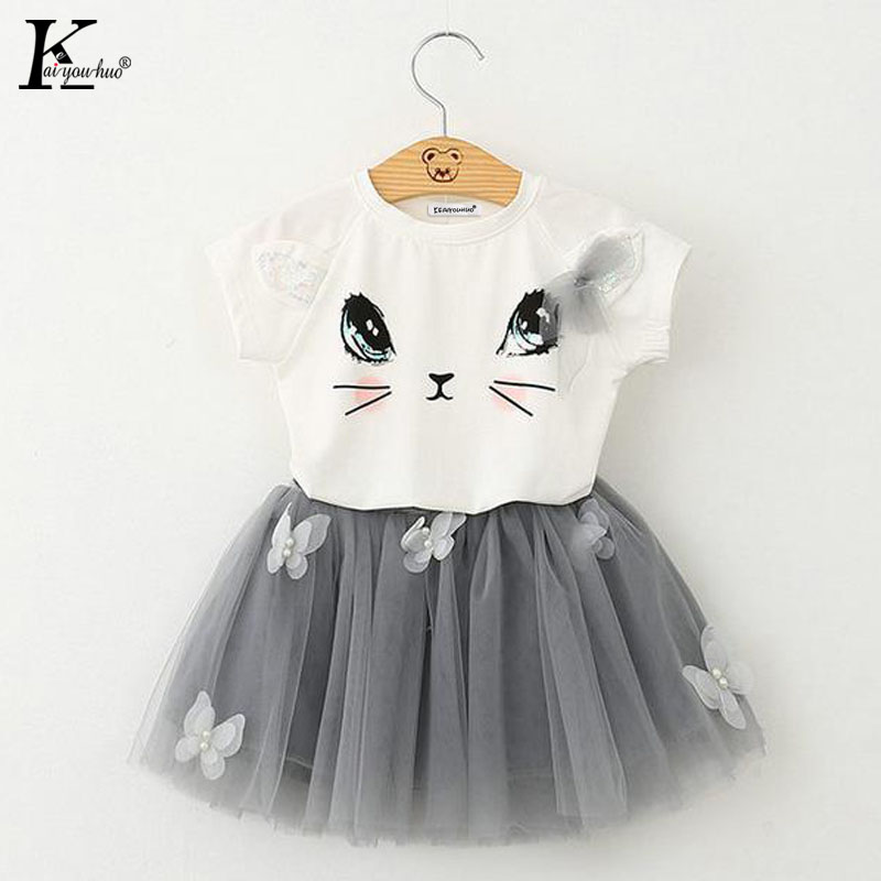 Summer Children Clothing Sport Suit Girls Clothes Sets T-shirt+Chiffon Tutu Skirt Costume For Kids Clothes for Baby girls dress new born baby girl clothes leopard 3pcs suit rompers tutu skirt dress headband hat fashion kids infant clothing sets