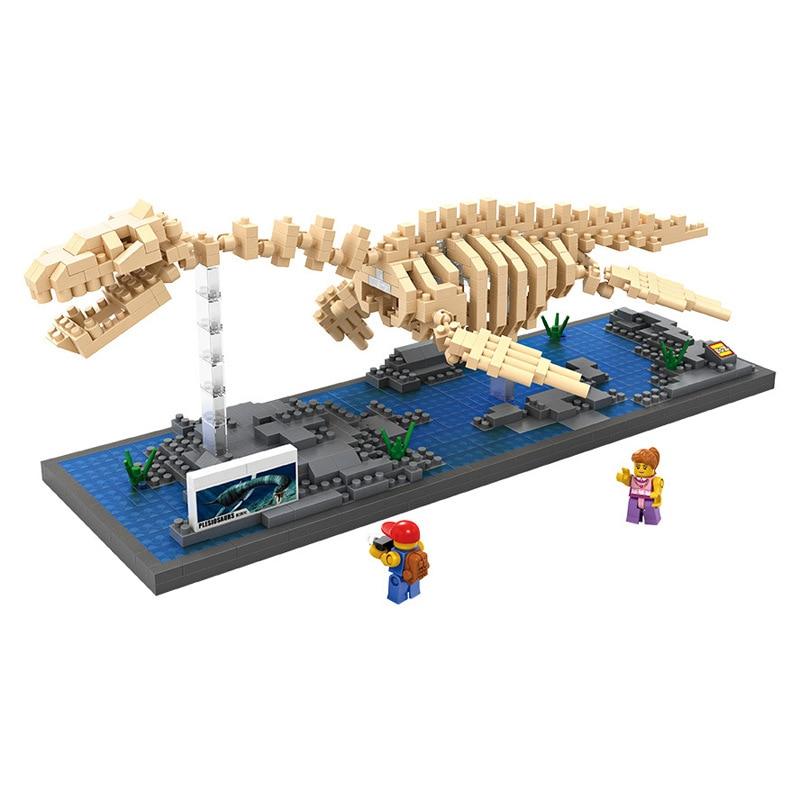 mini creator building block Jurassic Century dinosaur fossil Plesiosaur skeleton model nanoblock educational brick toy for kids loz creator mini diamond building block jurassic dinosaur world velociraptor fossil nanoblock model for kids educational toys
