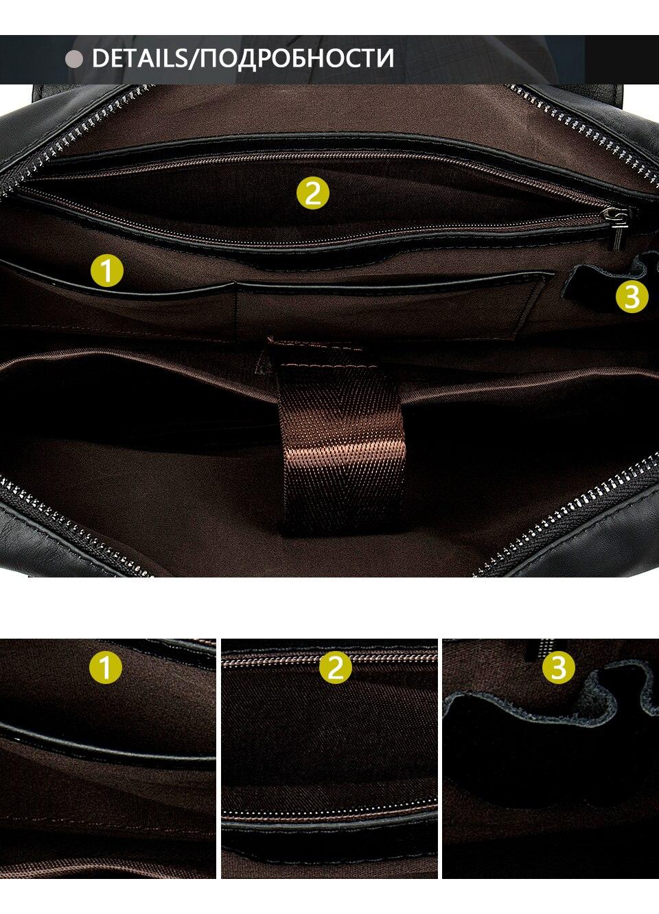 HTB1BsZtboLrK1Rjy1zbq6AenFXaz WESTAL genuine leather bag for men's briefcase bussiness laptop bags for documents messenger handbags tote briefcase 9005