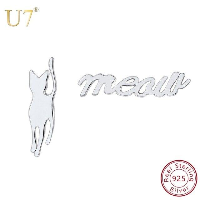 bfe87136f U7 925 Sterling Silver Asymmetry Women Earring Cute meow Kittty Cat Dog  woof Animal Stud Earrings DIY Jewelry Making Gift SC156