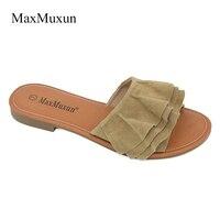 MaxMuxun Womens Sandals 2017 Summer Ladies Suede Ruffle Flats Heels Sandals Black Women Slippers Slip On
