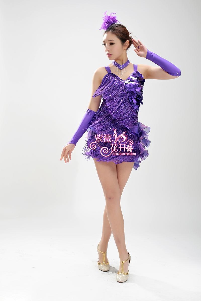 Chica Latino danza Vestidos estilo de la borla cha/rumba/samba/Salón ...