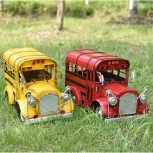 Nostalgia Style Tin Campus Bus Retro Vintage Car Model Handicraft Collection Photo Props Desktop Decoration Home Decor