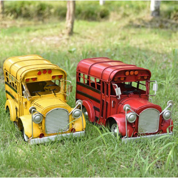 Nostalgia Style Tin Campus Bus Retro Vintage Car Model Handicraft Collection Photo Props Desktop Decoration Home Decor