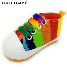 Фотография 12 Style Baby Leisure Shoes High Quality Girls Boys 2017 Fashion Rainbow Canvas Shoes Soft Prewalker Casual Shoes BS01