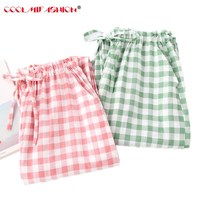 Women Cotton Pajamas Pants Plaid and Striped Sleep Bottoms Woven Long Pants 2018 Spring Summer Casual Lounge Wear Breathable