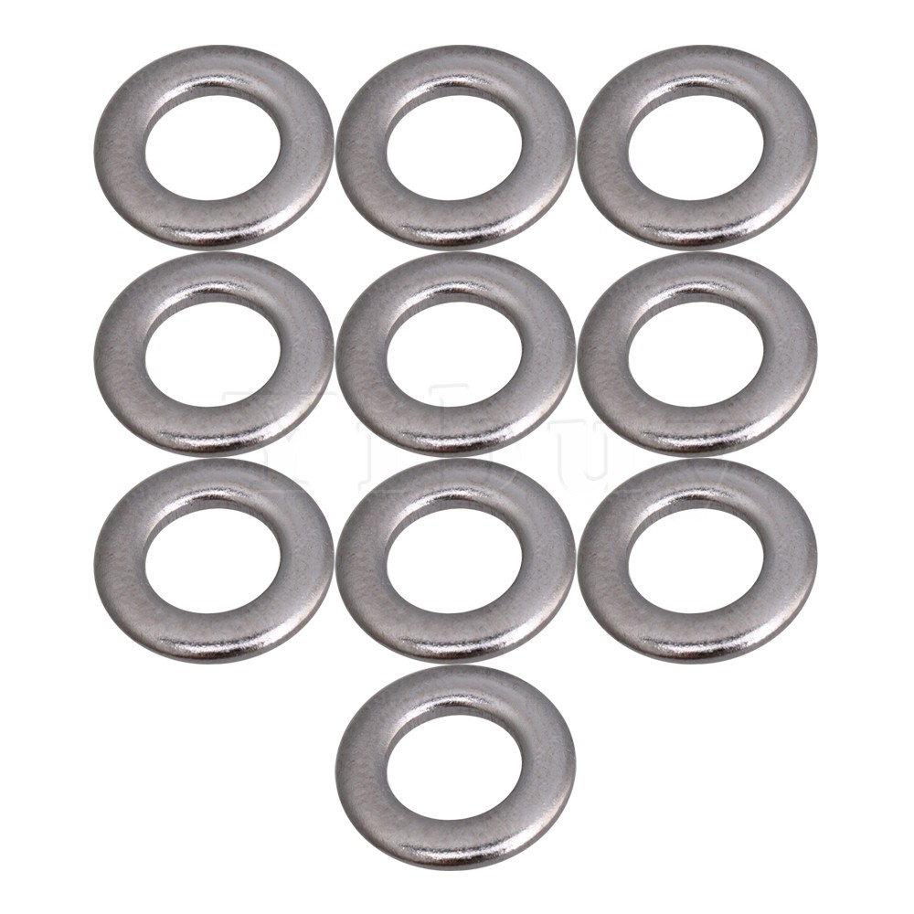 Yibuy 0.12x1.05cm Round Flat Washers for Drum Screws Drum Tension Rods Silver Metal Pack ...