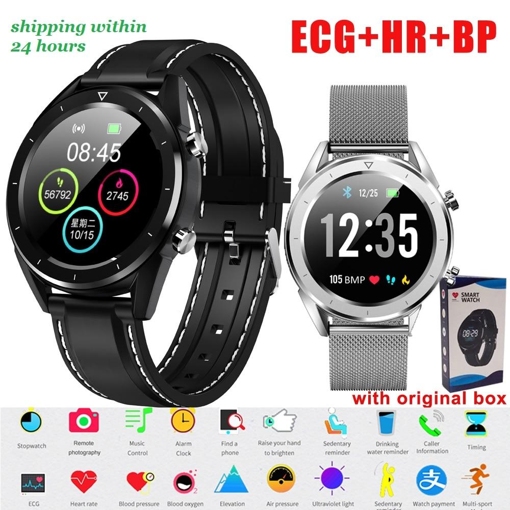 DT28 ECG Monitor De Freqüência Cardíaca Relógio Inteligente IP68 Homens Smartwatch À Prova D' Água Rastreador De Fitness Pulseira Inteligente Relógio de Pulso do Esporte