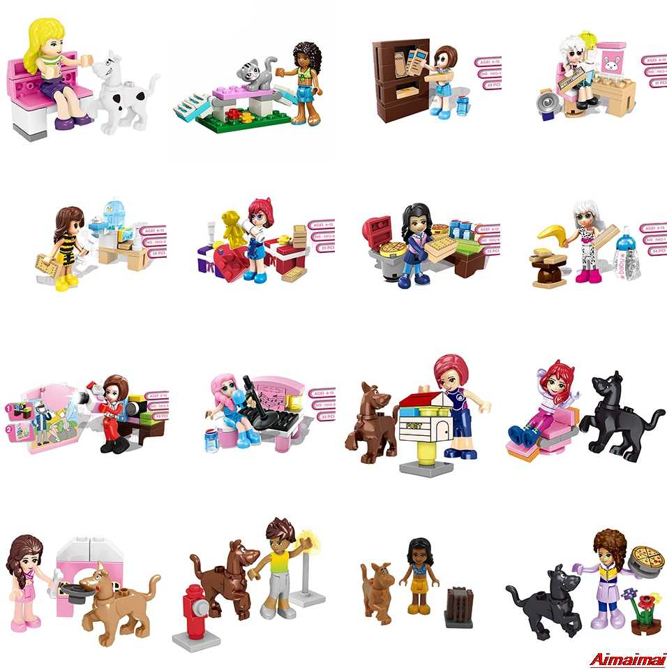 Blocks Legoing Friends Girls Princess Series Houses Animals Emma/Mia Cat Play Pet House Building Block Bricks Toys Girl Figurine