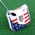 1 Pc Cierre magnético Golf Mallet Putter cubre cubierta de cabeza de cuero PU bandera estilo cuadrado Golf Club cabeza cubierta
