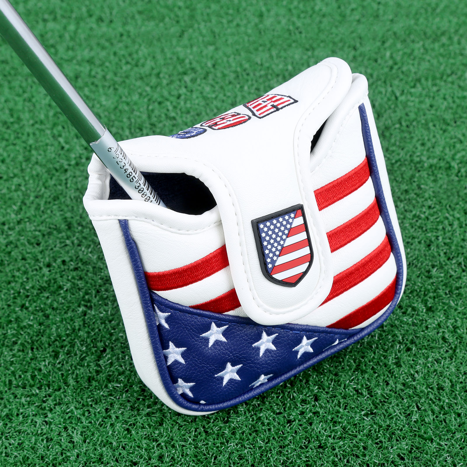 1 Pc Magnetic Closure Golf Mallet Putter Covers Headcover PU Leather Flag Style Square Golf Club Head Cover Headcovers