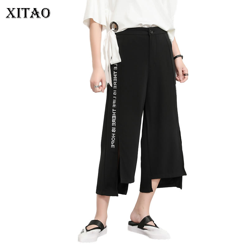 [XITAO] 2019 Summer New Europe Casual Loose Fashion Patchwork Pocket Letter Bifurcation Flat Match All Wide Leg Pants   ZQ1212