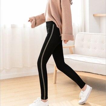 2020 Autumn Winter Cotton Velvet Leggings Women High Waist Side Stripes Sporting Fitness Leggings Pants Warm Thick Leggings 6