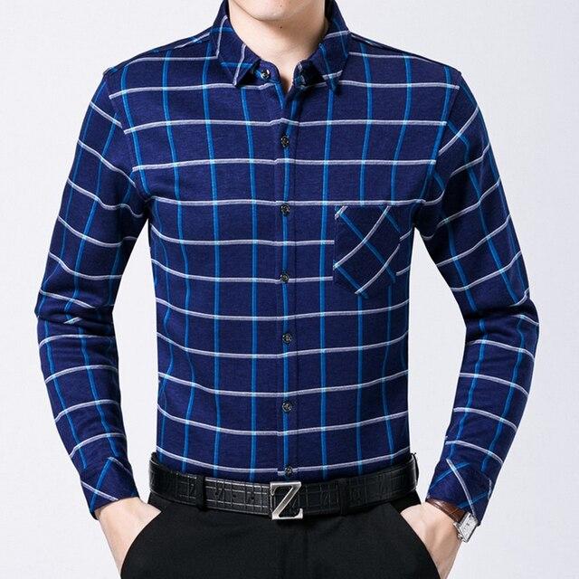 Plus velvet warm Men shirt 2016 Winter fashion plaid camisa male Casual slim High quality Mercerized Cotton clothing Long sleeve