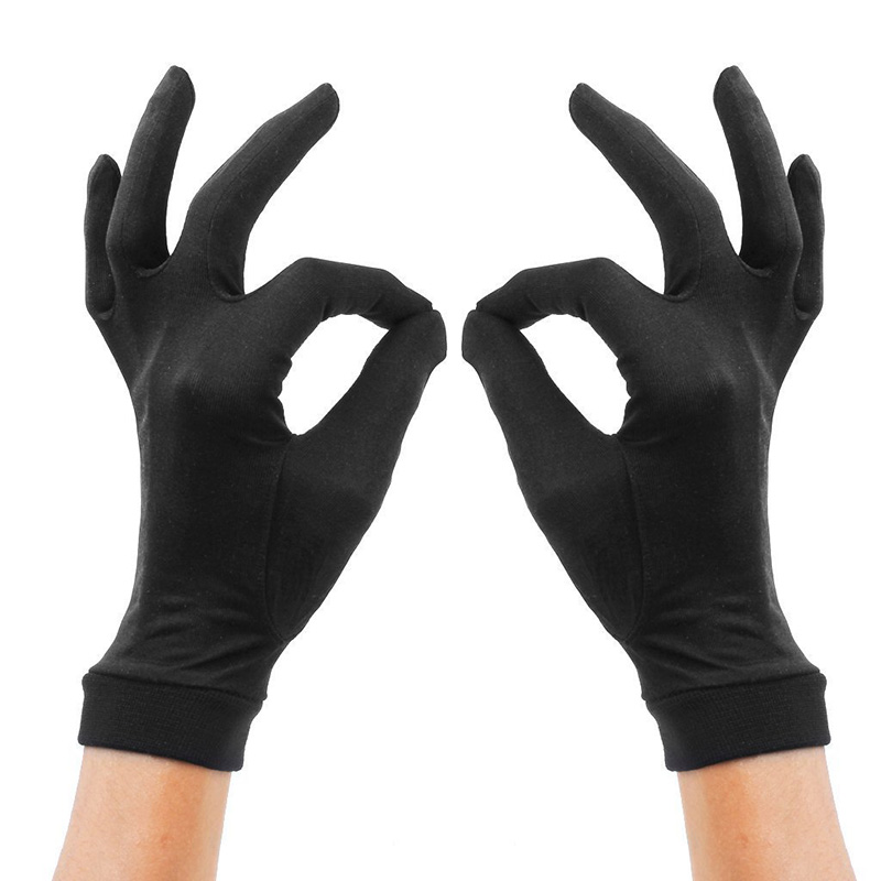 Elegant Ladies High Quality 100 Silk Knit Gloves Summer Anti-UV Thin Section Breathable Sleep Moisturizing Gloves A60