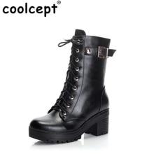 CooLcept Livraison gratuite cheville moitié courtes naturel réel véritable en cuir bottes femmes botte de neige chaussures à talons hauts R4901 EUR taille 34-39