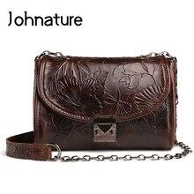 Johnature 2020 New Vintage Genuine Leather Floral Embossed Flap Pocket Versatile Shoulder&Crossbody Bags Fashion Women Flap