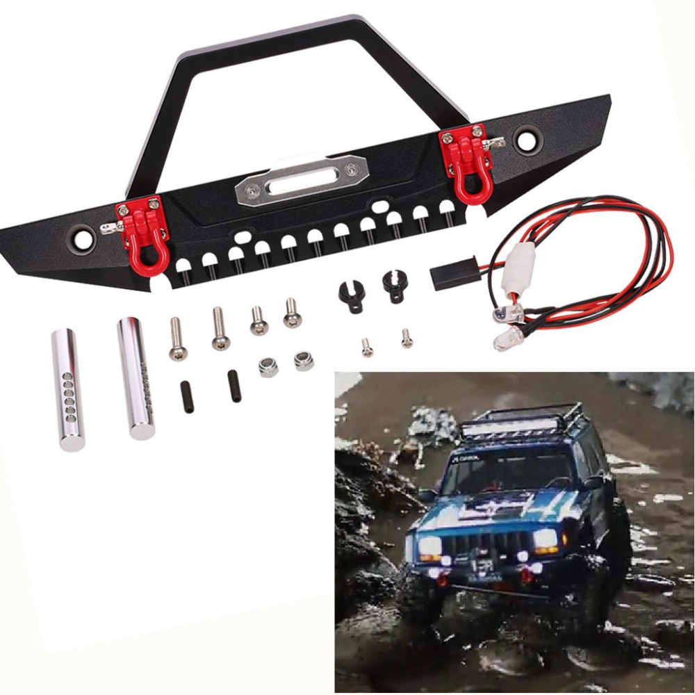 Metal Front Bumper with Light for 1 10 RC Crawler Car Axial SCX10 90046 Traxxas TRX