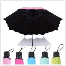 Buy HobbyLane Outdoor Sports Portable Tri-fold Rain and Windproof Flower Umbrella Anti-UV Anti-solid Color Sun Umbrella Hot Sale directly from merchant!