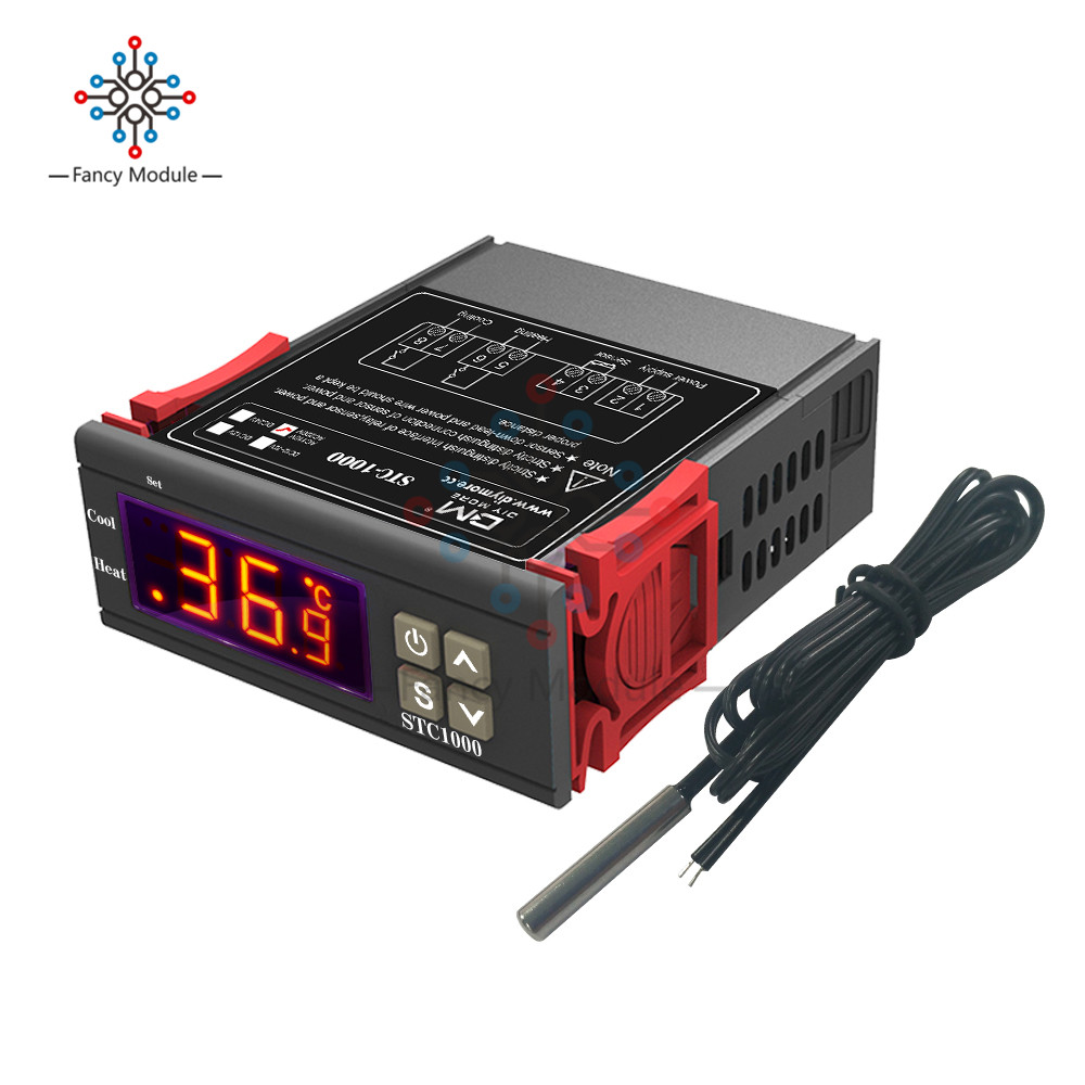Two Relay Output LED Digital Temperature Controller Thermostat Incubator STC-1000 110V 220V 10A with Heater and CoolerTwo Relay Output LED Digital Temperature Controller Thermostat Incubator STC-1000 110V 220V 10A with Heater and Cooler