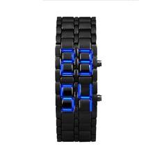 Relojes Hombre, мужские часы в стиле лавы, Железный Самурай, черный браслет, светодиодный, в японском стиле, синие, Erkek Kol Saati Horloges