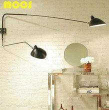 Мода Творческий Современный Настенный светильник Серж Моуилл 1 Головы 2 Руки Вращающийся Бра бра Чердак Ретро Черный/Белый утюг Тени