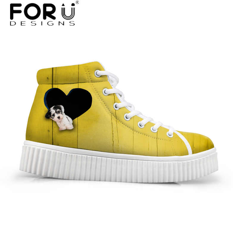 FORUDESIGNS Solid Women Flats Platform Shoes 3D Cute Animal Dog Pattern Female High Top Casual Shoes Autum Sneaker for Ladies forudesigns cute animal dog cat printing air mesh flat shoes for women ladies summer casual light denim shoes female girls flats