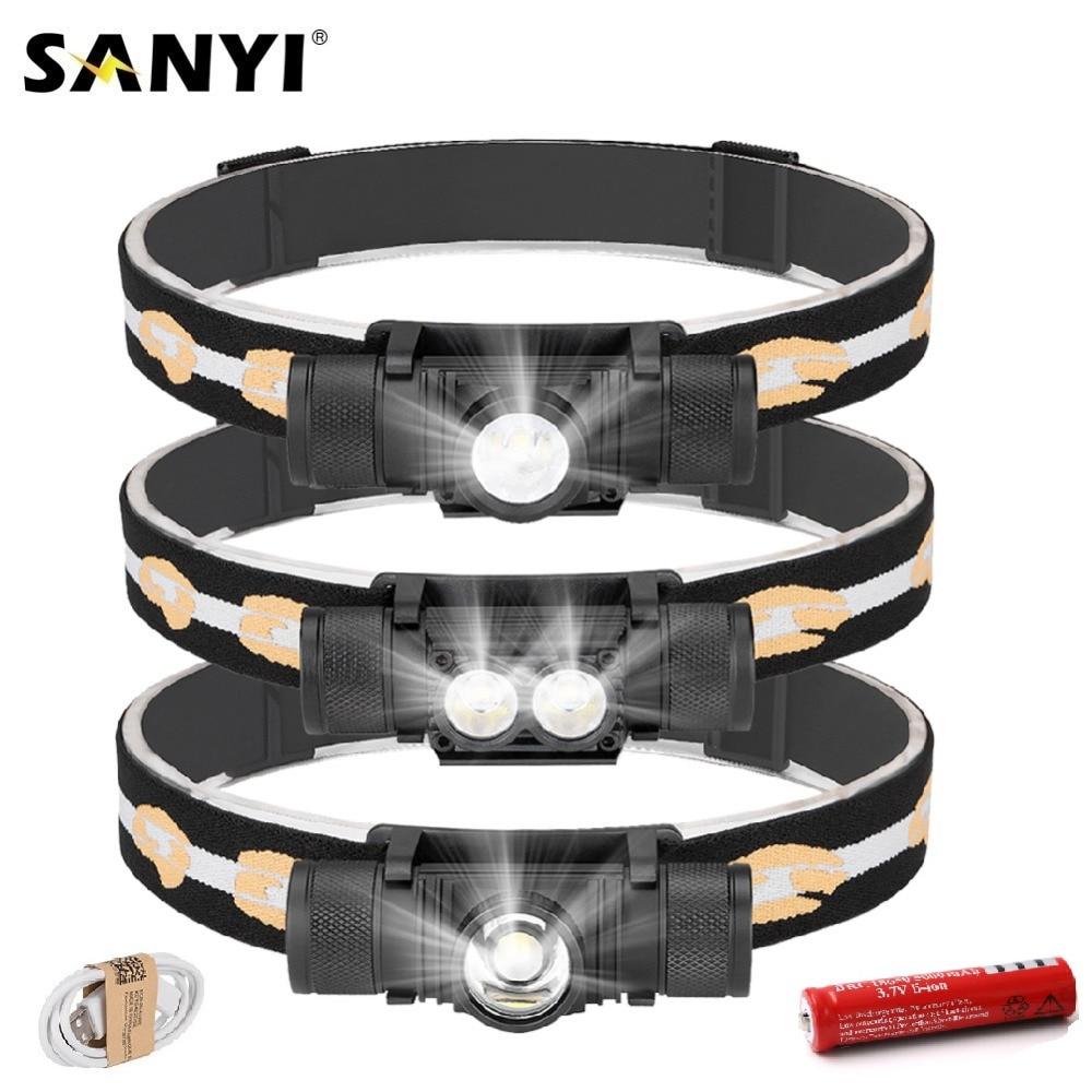 Sanyi XM-L2 led mini farol 6 modos carregador usb 18650 cabeça da tocha de acampamento lanterna caça frontal cabeça